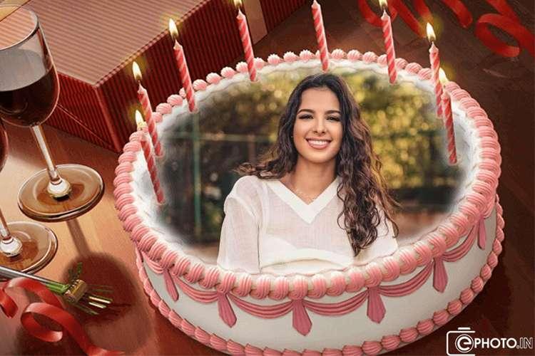 कैंडल के साथ जन्मदिन का केक फोटो फ्रेम